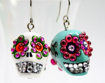 Skull in a-day is the day of the dead earrings stone ES0008
