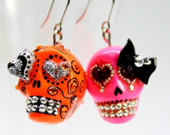 Skull in a-day is the day of the dead earrings stone ES0012