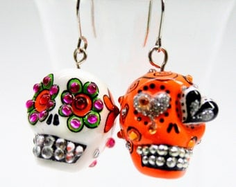 Skull in a-day is the day of the dead earrings stone ES0016