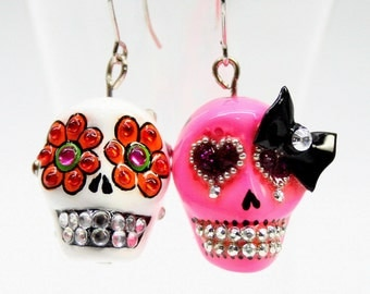 Skull in a-day is the day of the dead earrings stone ES0020