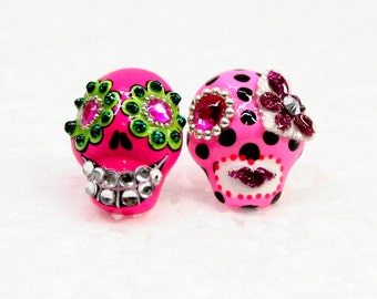 Skull in a-day is the day of the dead earrings E0047