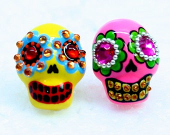 Skull in a-day is the day of the dead earrings E0052