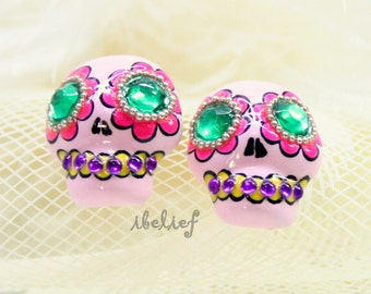 Skull in a-day is the day of the dead earrings E0039