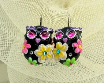 OWL NIGHT of handmade is flower on black owl earrings EW0005