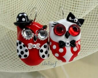 OWL earrings handmade from polymer clay EW0016