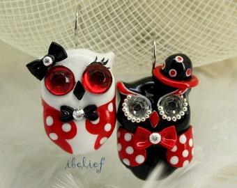 OWL earrings handmade from polymer clay EW0017