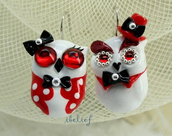 OWL earrings handmade from polymer clay EW0019