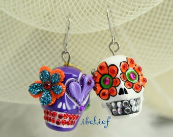 Skull in a-day is the day of the dead earrings stone ES0034