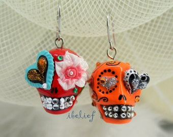Skull in a-day is the day of the dead earrings stone ES0035