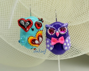 OWL earrings handmade from polymer clay EW0025