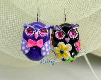 OWL earrings handmade from polymer clay EW0026