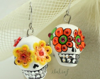 Skull in a-day is the day of the dead earrings stone ES0050