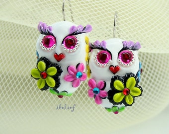 OWL NIGHT of handmade is flower on white owl earrings EW0048