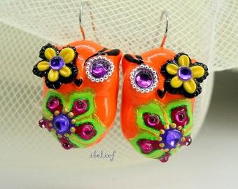 OWL NIGHT of handmade is flower & orange owls earrings EW0029