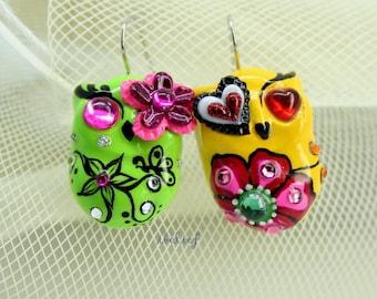 OWL NIGHT of handmade owls earrings EW0030