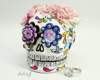 Ring box Bouquet roses on Skull the day of the dead RB0016