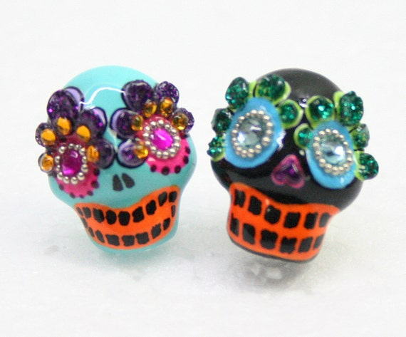 Skull in a-day is the day of the dead earrings E0004