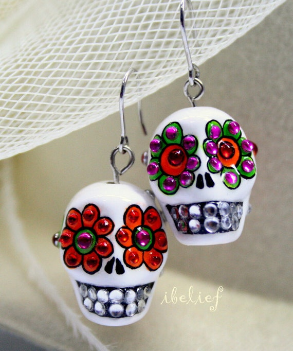 Skull in a-day is the day of the dead earrings stone ES0001