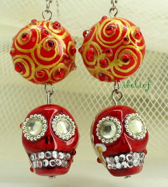 Skull in a-day is the day of the dead red skulls earrings stone ELS0012