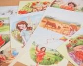 Holiday SALE - Waldorf inspired Seasonal Postcard Set / nature art prints - Set of 12 cards