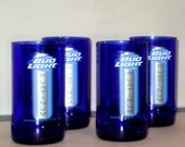 Cobalt Blue Glass Tumblers made from ReCycled Bud Light Platinum Bottles