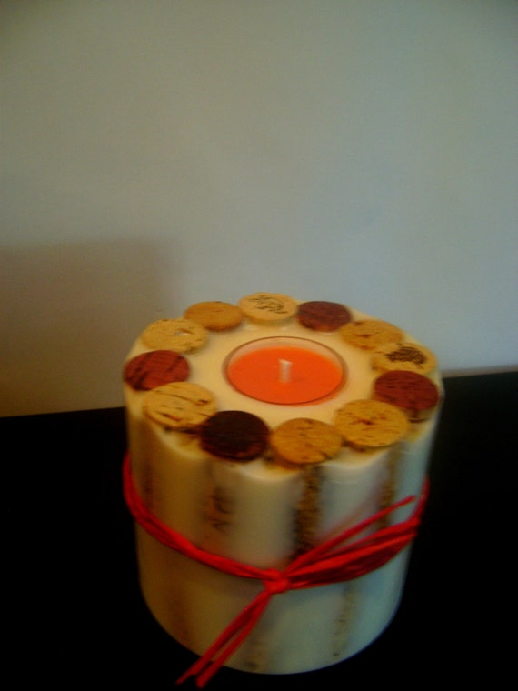 Wine Cork Pillar Candle with Replaceable Tea Light-Soy Candle
