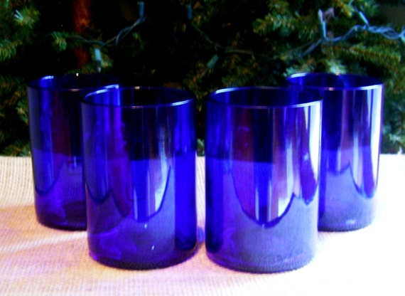 Skyy Vodka Bottles Re-Cycled as 12 oz Rocks Glasses-Set of 4