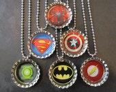 Super Hero /   Bottle Cap Party favors (6) / Spiderman / Superman / Captain America / Batman / Flash / Green Latern