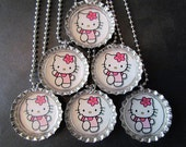 Hello Kitty  /   Bottle Cap Party favors (6) / add on more for 2 dollars each / also available with zebra background