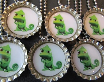 Tangled Pascal  Bottle Cap Party favors (6) / Many Tangled images available