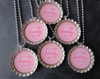Super Girl /   Bottle Cap Party favors (6) / check out my shop for other super hero's