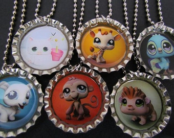 Littlest Pet Shop  Bottle Cap Party favors (6) Free (upon request with purchase) Valentine stickers