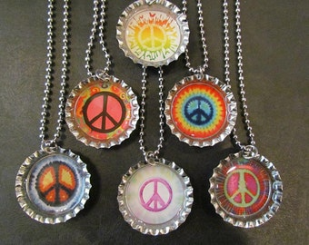 Peace Sign  Bottle Cap Party favors (6) / add more for 2 dollars each / Your choice of images