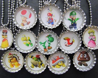 Special Order / Mario Bros and Friends Bottle Cap Party favors (12)