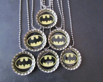 Bat Signal /   Bottle Cap Party favors (6) / add on more for 2 dollars each / available in yellow and pink