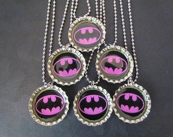 Batgirl /   Bottle Cap Party favors (6) add ons 2 dollars each / Many super hero images available