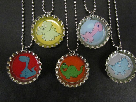 Dinosaur Bottle Cap Party favors (5) / add more for 2 dollars each
