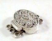 Qty 1: Decorative 3-Strand Sterling Silver Box Clasp