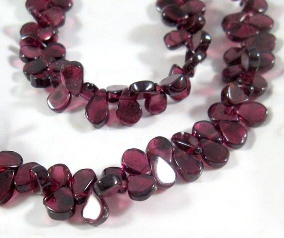Half Strand: Tiny Garnet Briolette Beads, 5mm