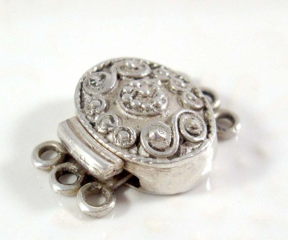 Qty 1: Decorative 3-Strand Sterling Silver Box Clasp