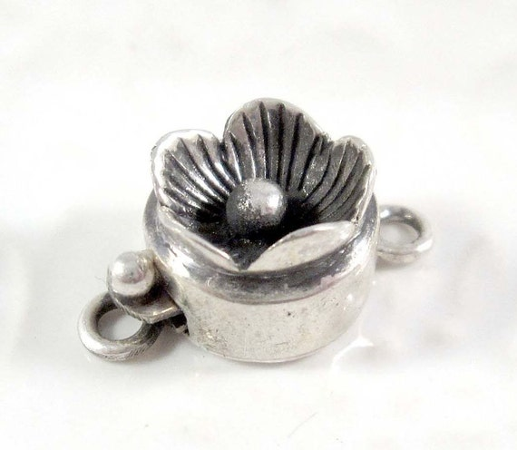 Qty 1: Flower Box Clasp, Antiqued Sterling Silver