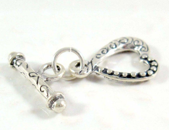 Qty 1: Fancy Heart Toggle Clasp, Sterling Silver