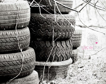 Rustic | Tires Stacked | Black and White | Vintage | Winter | Fine Art Print