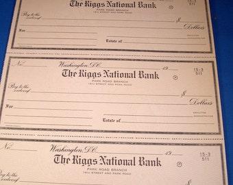 Riggs Bank Unused Check Uncut Sheet Washington DC Banking Collectibles