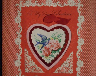 Valentine's Day Die-Cut Greeting Card Mirrotone Vintage Rare Beauty