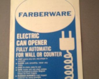 Vintage Farberware Can Opener Brochure 1960's