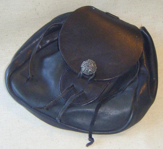 SALE   Black Leather Pouch Bag SCA LARP Reenactor with Celtic Button Closure