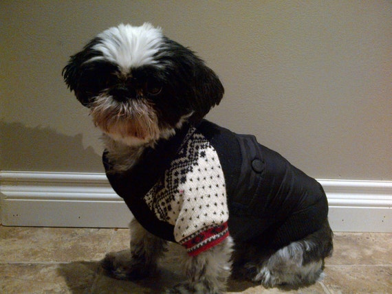 Black Dog Jacket with Snowflake Sweater Sleeves Upcycled