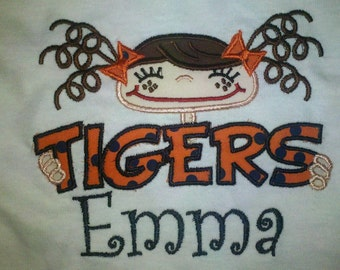 Tigers Applique, Girls, Boys, Tigers, Auburn, Clemson, LSU, Applque/Embroidery Shirt, Sports, Tiger Mascot, Mascot,