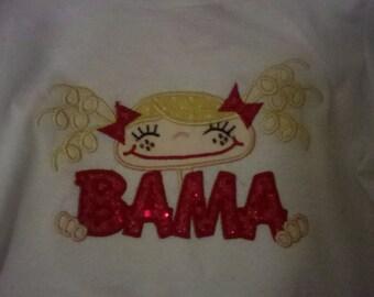 Bama Girl or Boy Applique Shirt, Bama, Roll Tide, Alabama, Universtiy of Alabama, Mascot,